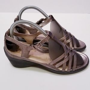 Ecco EU 36/US 6 Bronze Strappy Wedge Sandals